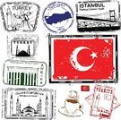 Turkey - Middle East,Rubber Stamp,Postage Stamp,Istanbul,Ankara,Vacations,Ilustration,Mosque,Flag,Illustrations And Vector Art,Architecture,Travel Locations,1940-1980 Retro-Styled Imagery,Architecture And Buildings,Retro Revival,Vector,Building Exterior,Old-fashioned