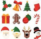 Christmas,Symbol,Icon Set,Christmas Tree,Christmas Stocking,Sleigh Bells,Gingerbread Man,Reindeer,Elf,Santa Claus,Gift,Bow,Bell,Candy Cane,Vector Icons,Christmas Decoration,Snowman,Ilustration,Snow,Pine Tree,Illustrations And Vector Art,Ribbon,Cookie,Ribbon,Vector Cartoons,Christmas,Christmas Present,Holly,Holidays And Celebrations,Christmas Ornament