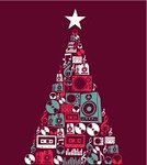 Christmas,Music,Record,Retro Revival,Sound,Tree,Design Element,Illustrations And Vector Art,Star - Space,Composition,Treble Clef,Audio Cassette