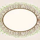 Silhouette,Beauty In Nature,Frame,Oval Area,Shape,White,Beige,Painted Image,Plant,Green Color,Ilustration,Blank,Empty,Tree,Decoration,Branch,Leaf,Pattern,Nature,Brown