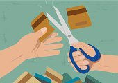 Human Hand,Scissors,Debt,Commercial Activity,Currency,Shopping,Retail,Buying,E-commerce,Loan,Giving,Consumerism,Responsible Spending,Credit Card,Finance,Plastic