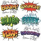 Comic Book,Typescript,Cartoon,Single Word,Exploding,Isolated,Icon Set,Isolated On White,Vibrant Color,Vector,Ilustration,Color Image