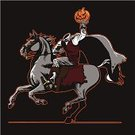 Decapitated,Halloween,Horse,Horseback Riding,Running,Terrified,poltergeist,Holidays And Celebrations,Halloween,Fear,Illustrations And Vector Art,Ghost,Holiday,Vector Cartoons,Spooky,Evil,Jack O' Lantern,Horror