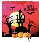 Illustrations And Vector Art,Holidays And Celebrations,People,Halloween,Castle,Cemetery,Bat - Animal,Pumpkin