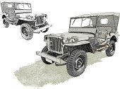 Jeep,Off-Road Vehicle,4x4,World War II,Vector,Military,Wheel,Extreme Terrain,Large,Sketch,Ilustration,USA,Transportation,Land Vehicle,Sports Utility Vehicle,Army,Toughness