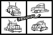 Vehicle Trailer,Truck,Symbol,Traffic,Collection,Black Color,Ilustration,Vector,Vector Icons,Heavy Industry,Set,Industry,Freight Transportation,Road,Illustrations And Vector Art,Transportation,Industry,Mode of Transport,Land Vehicle,Cargo Container,Van - Vehicle,Car,Business