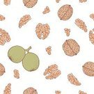Walnut,Food And Drink,Illustrations And Vector Art,Food Backgrounds,Vector Backgrounds,Food,Pattern,Vector,Ilustration,Beige,Green Color