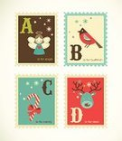 Alphabet,Christmas,Candy,Postage Stamp,Letter D,Letter A,Label,Retro Revival,Letter C,Abstract,Old-fashioned,Letter B,Angel,Ilustration,Computer Graphic,Season,Snowflake,Deer,Pattern,Decoration,Gift,Cultures,Winter,Holly,Bird,Cute,Greeting,Vector,Bullfinch