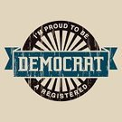 Democratic Party,Voting,Label,Text,Politics,Circle,Brown,American Culture,Old-fashioned,Blue,Typescript,Short Phrase,Retro Revival,Banner,Old,Government,Vector,Ilustration,Wood Grain,Single Word