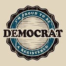 Democratic Party,Circle,Label,Politics,Voting,Text,Blue,American Culture,Old-fashioned,Typescript,Brown,Ilustration,Retro Revival,Banner,Old,Government,Vector,Short Phrase,Wood Grain,Single Word