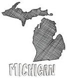 Michigan,Cartography,Map,Ilustration,Sketch,state,US State Border,Doodle,Physical Geography,Text,Topography,White,hand drawn,Single Word,Concepts And Ideas,Design Element,Illustrations And Vector Art,Travel Locations,graphic element,Drawing - Art Product,USA,The Americas,Black Color