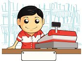Cashier,Cash Register,Checkout,Retail,Occupation,Young Adult,Working,Sales Clerk,Cartoon,Machinery,Sale,Owner,Store,Retail Occupation,Small,Lifestyles,Business,Cheerful,Business,Vector Cartoons,Standing,Smiling,Paying,Cute,Adult,Business Concepts,Drawing - Art Product,Beautiful,Looking,One Person,Indoors,Illustrations And Vector Art,Fashion,Vector,Business People,Ilustration,Male,Men,People