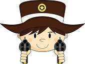 Cowboy Hat,Hat,Computer Graphic,Gun,Handgun,Cowboy,One Person,10 Gallon Hat,People,Clip Art,Weapon,Star Shape,Cute,Badge,Brown Hair,Characters,lawman,Isolated,Illustrations And Vector Art,Vector,Ilustration,Sheriff,Cartoon,Aiming,Wild West,Vector Cartoons