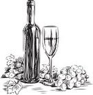 Wine Bottle,Drawing - Art Product,Grape,Sketch,Still Life,Wineglass,Glass,Drink,Winemaking,Doodle,Bunch,Contour Drawing,Berry Fruit,Isolated On White,Bottle,Grape Wine,Alcohol,Hard Liquor,Leaf,Transparent