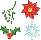Mistletoe,Christmas,Poinsettia,Holly,Snowflake,Leaf,Flower,Christmas Icons,Berry,Celebration,Thorn,Season,Flowers,Christmas,Plants,Nature,Petal,Stem,Holidays And Celebrations