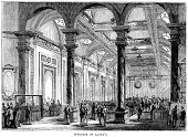 Lloyds of London,Stock Market,Market,London - England,Engraved Image,Victorian Style,Insurance Agent,Image Created 19th Century,Indoors,Ilustration,History,Old,Insurance,Old-fashioned,Financial District,Financial Occupation,Retail Place,City of London,Architecture And Buildings,Print,Greater London,England,National Landmark,Victorian Architecture,Illustrations And Vector Art,Europe,Antique,Architectural Feature,Black And White,Business,Architectural Styles,Northern Europe,Architecture,Styles,Woodcut,UK,Human Settlement,Famous Place,Architectural Column,Southeast England,Public Building,Building Feature,The Past,District,19th Century Style,Built Structure