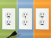 Outlet,Electric Plug,Alternating Current,Smiling,Cheerful,Happiness,Electricity,Power Supply,Sadness,Connection,Energy,Illustrations And Vector Art,Shock,Backgrounds,Electronics,Technology,Symbol,Wall,Technology,Safety,White,Connect,Cartoon,Cute,Modern Life,Plug Adapter,Environmental Conservation,Vector Cartoons,Concepts And Ideas,Cable,Emotion,Frowning