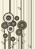 Sunflower,Flower,Daisy,Flower Bed,Retro Revival,Floral Pattern,1940-1980 Retro-Styled Imagery,Striped,Vector,Straight,Landscape,Art Deco,Springtime,Plant,Vertical,Ornate,Leaf,Growth,Ilustration,Gray,Brown,Idyllic,Beige,Cultivated