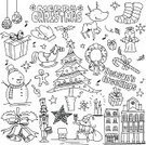 Christmas,Doodle,Christmas Stocking,Line Art,Santa Claus,Gift Box,Gift,Angel,Christmas Ornament,Tree,Wreath,Candle,Decoration,Holidays And Celebrations,Bell,Snowflake,Vector Backgrounds,Toy,Snowman,Christmas,Candy,Illustrations And Vector Art,Star Shape,Deer,Gingerbread Man