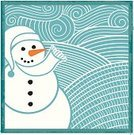 Snowman,Christmas,Wind,Pattern,Swirl,Snow,Winter,Scratchboard,Square Shape,Vector,Smiling,December,Blue,Square,Happiness,Joy,Ilustration,Cheerful,carved letters,Winter,Holidays And Celebrations,Nature,Illustrations And Vector Art,Holiday Backgrounds