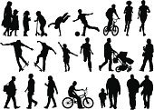 People,Friendship,Happiness,Togetherness,Back Lit,Cheerful,Jogging,Skateboarding,Cycling,Walking,Holding Hands,Married,Parent,Father,Mother,Family,Playful,Fun,Baby Carriage,Baby,Child,Adult,Cut Out,Baby Stroller,Illustration,Men,Boys,Women,Girls,Vector,White Background,Husband,Wife,Silhouette,