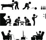 Symbol,Sofa,Sitting,Silhouette,Arcade,Men,People,Pool Game,Hobbies,Table,Playing,Black Color,Cartoon,Newspaper,Snooker,Activity,Leisure Activity,Chess,Entertainment,Indoors,Isolated,Fun,Throwing,Leisure Games,Dart,Bowling