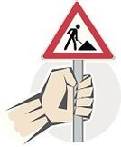 Silhouette,Construction Industry,Warning Sign,Sign,Road Construction,Human Hand,Red,Road Sign,At Attention,Industry,Danger,Objects/Equipment,Symbol,Warning Symbol,Construction Worker,Illustrations And Vector Art,Construction,Triangle,Holding,Alertness,Computer Icon,Construction Site