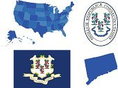 Connecticut,Seal - Animal,state,Flag,USA,Map,Cartography,Insignia,heraldic,Symbol,Coat Of Arms,Usa Map,North America,State Seal,Icon Set,Vector,Set,Connecticut State,Clip Art,Topography,American Flag,Collection,History