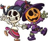Halloween,Dancing,Mexican Culture,Mexican Ethnicity,Human Skull,Cute,Friendship,Cheerful,Pumpkin,Couple,Cultures,Vector,Walking,Holding Hands,Hat,Illustrations And Vector Art,Halloween,Human Skeleton,Purple,Cartoon,Holidays And Celebrations,Vector Cartoons,Color Gradient,Little Girls,Little Boys,Skirt