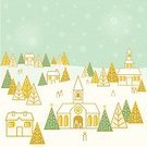 Christmas,Village,House,Decoration,Tree,Snowflake,Snow,Landscape,Church,Christmas Tree,Holiday,Star Shape,People,Winter