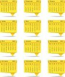 Calendar,2013,Year,template,Vector,Month,Yellow,Calendar Date,Day,Folded,Origami,White Background,Computer Icon,Style,2013 Year,Isolated On White,Isolated,Paper