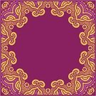 Decoration,Frame,Midsection,Ornate,Ilustration,Vector,No People,Floral Pattern,Symmetry,Backgrounds,Square,Design Element,Pattern,Pink Color,Yellow,Red,Circle