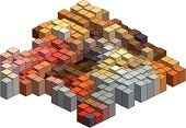 Pixelated,Block,Abstract,Cube Shape,Geometric Shape,Multi Colored,Three-dimensional Shape,Backgrounds,Brick,Three Dimensional,Cubism,Single Object,Vector,Design Element,Ilustration,Brown,Composition,Orange Color,Red,Shape,Square Shape,Color Image