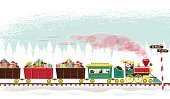 Train,Santa Claus,Christmas,Holiday,Steam Train,Retro Revival,Railroad Track,North Pole,Snow,Ilustration,1940-1980 Retro-Styled Imagery,Gift,Locomotive,Freight Train,Winter,Rudolph The Red-nosed Reindeer,Vector,Passenger Train,Gingerbread Man,Snowman,Fun,Smiling,Christmas Present,Railroad Car