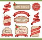 Christmas,Label,Retro Revival,Old-fashioned,Banner,Placard,Badge,Award Ribbon,Ribbon,Holiday,Frame,Text,Decoration,Winter,New Year's Eve,Modern,Sign,Swirl,Gift Tag,Christmas Paper,Vector,Ilustration,Snowflake,Brown,Typescript,Celebration,Poster,paper texture,Textured Effect,Star Shape,Scroll Shape,Red,Paper,Design