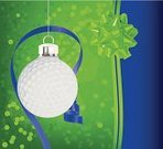 Christmas,Golf,Sport,Christmas Ornament,Holiday,No People,Christmas Decoration,Brightly Lit,Bow,Celebration,Vibrant Color,Bright,Decoration,Ribbon,Shiny,Blue,Sphere,Green Color,Glitter