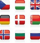 Flag,Europe,Bulgaria,National Flag,Symbol,Russia,Bulgarian Culture,Denmark,Germany,Norway,Danish Culture,Belarus,Icon Set,UK,Northern Ireland,Color Image,Vector,Isolated On White,No People,Ilustration,Hungary,Striped,Czech Republic