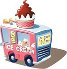Ice Cream Truck,Ice Cream,Van - Vehicle,Ice Cream Cone,Selling,Snack,Business,Ilustration,Isolated On White,Vector,Drink