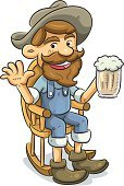Men,Cartoon,Senior Adult,Cowboy,Rocking Chair,Beer - Alcohol,Drinking,Old,Sitting,Beard,Hat,Cap,Relaxation,Happiness,Cheerful,Holding,Mug,Glass - Material,Mustache,Chair,Vector,Comfortable,Glass,Ilustration,Smiling