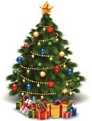 Christmas Tree,Gift,Christmas,New Year's Eve,New Year's Day,Tree,New Year,Lighting Equipment,Pine Tree,Star Shape,Wrapping Paper,Gold Colored,Decoration,Candy,Ilustration,Sphere,Blue,Vertical,Leaf,Season,Shiny,Green Color,Yellow,Red,Multi Colored
