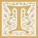 Alphabet,Old-fashioned,Medieval,Letter T,initial,Flower,Capital Letter,Floral Pattern,Antique,Vector,Single Flower,Typescript,Decorative Tile,Elegance,Text,Tile,Ornate