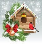 Birdhouse,Christmas Present,Season,Old-fashioned,Retro Revival,Bullfinch,Bird,Backgrounds,Christmas,Snow,Painted Image,Cultures,Wood - Material,Design Element,foliagé,Winter,Romance,New Year,Ilustration,Spruce Tree,Greeting,Green Color,Shiny,Decoration,New Year's Eve,fir-tree,Bow,Twig,Beautiful,Copy Space,Holiday,Evening Ball,Celebration