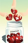 Charity and Relief Work,Donation Box,Volunteer,A Helping Hand,Assistance,Heart Shape,Human Hand,Jar,Collection,Teamwork,Ilustration,Vector,Togetherness,Team,Drawing - Art Product,Clip Art,People,Ideas,Concepts,Support