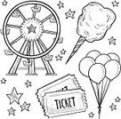 Traveling Carnival,Ferris Wheel,Sketch,Ticket,Doodle,Amusement Park,Amusement Park Ride,Balloon,Drawing - Art Product,Cotton Candy,Ilustration,Isolated,Candy,Vector,Circle,Fun,Entertainment,Park - Man Made Space
