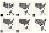 USA,Cartography,Map,Square Shape,Spotted,Halftone Pattern,Pattern,Technology,Digitally Generated Image,Grid,Pixelated,Backgrounds,Abstract,Polka Dot,Data,Unity,US State Border,state,Global Positioning System,Silhouette,Futuristic,Part Of,Hawaii Islands,Vector,Dividing,Internet,Mosaic,Separation,Global,Design,Elegance,Sharing,Global Business,Alaska,Outline,Concepts,Global Communications,Ideas,Design Element