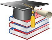Textbook,Certificate,Diploma,Education,Tassel,Bachelor,Wisdom,Mortar Board,Learning,School,cert,Isolated On White,School Colours,Cap,Graduation,University,Progress,Book,Ceremony,Third Level,Isolated,Man Made Object,Library,Achievement,Success,White,Stack,Hat