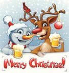 Christmas,Reindeer,Drinking,Beer - Alcohol,Humor,Snowman,Alcohol,Fun,Cheerful,Rudolph The Red-nosed Reindeer,Drink,Banner,Multi Colored,Smiling,Snow,Happiness,Deer,Holiday,Sphere,Scarf,Hat,Bird,Text Messaging,Cold - Termperature,Vector,Placard,Ilustration,Winter,Snowing,Celebration,Text