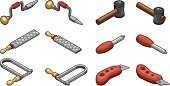 Isometric,Work Tool,Rubber Mallet,Gray,Red,Brown,Screwdriver,Rasp,Computer Icon,Occupation,Mechanic,Coping Saw,Hand Drill,Home Improvement,Outline,Utility Knife,Repairing