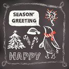 Holiday,Blackboard,Christmas,Cheerful,Chalk Drawing,Design Element,Penguin,Christmas Card,Greeting Card,Pattern,Christmas Tree,Winter,Beauty In Nature,Star Shape,Landscape Background,Ilustration,Red,White,Snowing,freehand,Snow,Vector,Leaf,Hat,Nature,Branch,Snowflake