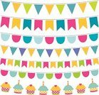 Bunting,Flag,Banner,Cupcake,Hanging,Pennant,Set,Party - Social Event,Vector,Holiday,Celebration,Vibrant Color,Party String,Design Element,Ilustration,Birthday,Isolated,Rope,Decoration,Multi Colored,Cute
